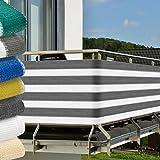 Balkon Sichtschutz 500x90 cm UV-Schutz - Balkonumspannung mit Befestigung - Windschutz - Grau-Weiß