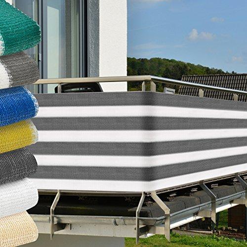 Frangivista per balconi 500x90 cm - grigio-bianco - protegge da raggi UV - anti-sguardi indiscreti - fissaggio incluso