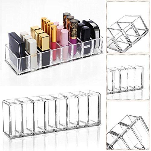 Good01 8 emplacements Acrylique Poudre Rouge à lèvres Mallette de Maquillage de Stockage boîte de Rangement pour, Transparent, Taille Unique