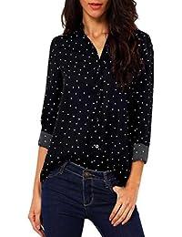 LILICAT Frauen Langarmshirt Casual Bluse Herbst Kleider Vintage Pokla Dot  Button V Neck Freizeit Pullover Damenhemd Chiffon T-Shirt… 64d7e5dc7e