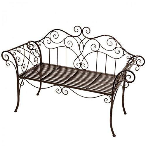 2-Sitzer Gartenbank Metall mit Verzierungen Rost-Optik Eisenbank Parkbank Gartenmöbel NEU