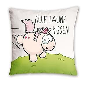 """Nici 41249.0 - Einhorn Theodor Kissen""""Gute Laune Kissen"""" Baumwolle bedruckt, 37x37cm"""
