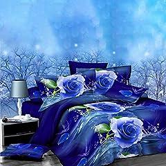 Idea Regalo - Zantec Set Biancheria 4pz/Set Lenzuola matrimoniali Completo Stampa Rosa Blu 3D - Copripiumini 2x2,3m + Lenzuola 2,3x2,3m + 2 Federe 48x78cm