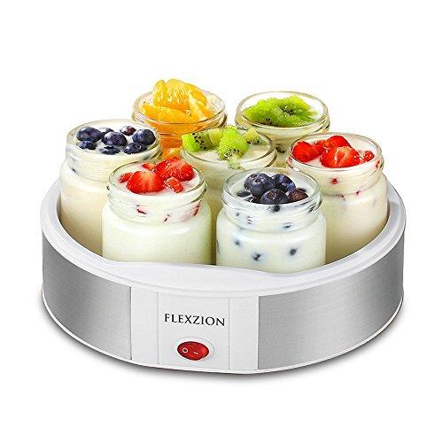 Flexzion máquina para hacer yogur con 7 recipientes para yogur - Máquina eléctrica automática para hacer yogurt