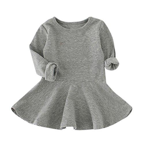 Kleinkind Baby Mädchen Kleidung Babykleidung Floral Bow Outfits Kleid Mädchen Blumenkleidung Lange Hülsen Kleid Langarm Kleidung Blumendruck Prinzessin Kleider (12M-4Jahr) LMMVP (Grau, 98 (3T)) (3t Jacke)