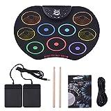 Faltbare E-Drum Set Tragbares Elektronisches Schlagzeug Mit 9 Farbenfrohen Drum Pads Drum Pedals Und Drumsticks Für Kinder Anfänger Schlagzeuger(Schwarz)