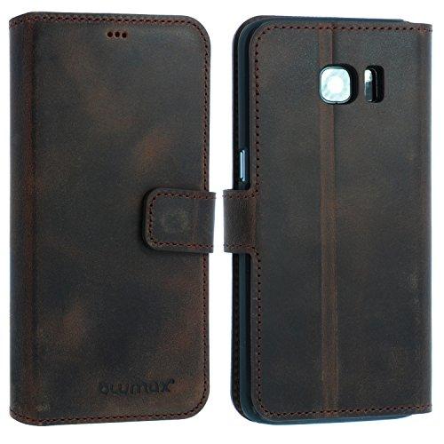 Blumax Samsung Galaxy S7 Edge Leder Flip-Case im Vintage-Look