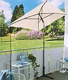 qm oder baubleich UV Sonnenschirm rechteckig 210x140 Garten Balkon-Schirm UV-Schutz ~cf308 (Beige)