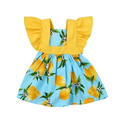 Robe de Princesse Fille,Manadlian Bébé filles Lemon Print Princess Dress Vêtements Tenues (Bleu, 6-12 Mois)