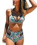 Walant Damen Schwimmen Badeanzug Blumendruck Hohe Taille Sommer Bikini Set, M