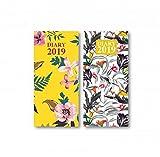 Carnet 2019 fin avec couverture rigide - Carnet de poche/pour sac à main - Motifs floraux (variés, 1 motif au hasard) (français non garanti)