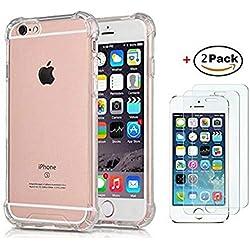 TXLING Coque pour iPhone 6 Transparent [2 x Protecteur D'écran en Verre Trempé] Antichoc Ultra Transparent Doux Souple Housse TPU Silicone Etui Gel Case