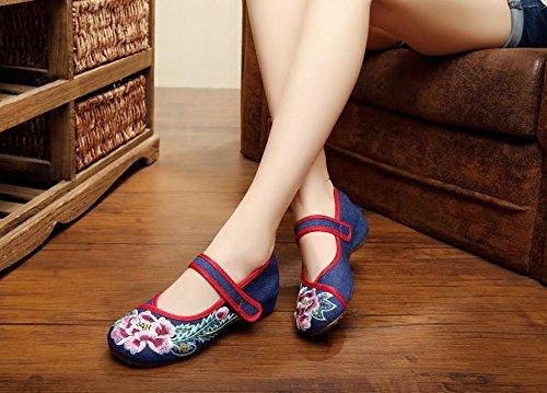 GXS Gestickte Schuhe, Leinen, Sehnensohle, ethnischer Stil, weibliche Schuhe, Mode, bequem, Tanzschuhe navy blue