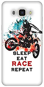 The Racoon Lean printed designer hard back mobile phone case cover for Samsung Galaxy J7 (2016). (Sleep Eat)