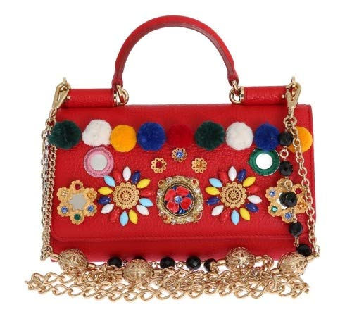 Dolce & Gabbana - Damen Tasche - Henkeltasche - Purse VON Red Leather Crystal Carretto POM POM