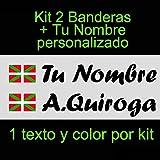 VINILIN - Pegatina Vinilo Bandera Pais Vasco (Ikurriña) + tu nombre - Bici, Casco, Pala De Padel, Monopatin, Coche, etc. Kit de dos Vinilos (Negro)