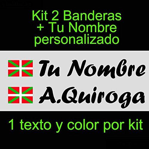 Vinilin Vinilo Bandera Pais Vasco (Ikurriña) + tu Nombre - Bici, Casco,...