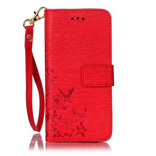 iPhone Case Cover Gepresste Blumen Solid Color PU-Leder-Kasten-Abdeckung mit Handschlaufe Mappen-Kasten für IPhone 7 ( Color : Red , Size : IPhone 7 ) Red