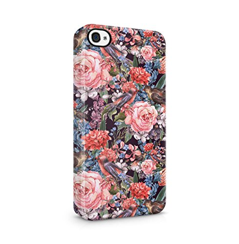 Flowers Pink Roses, Spring Flowers & Birds Pattern Apple iPhone 5 , iPhone 5S , iPhone SE Snap-On Hard Plastic Protective Shell Case Cover Custodia Spring Flowers