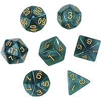 Dados Poliédricos Set de 7-Dados para Dungeons y Dragons con Bolsa Negra (Verde)