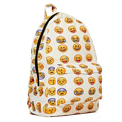 Imagen de nueva qq impresión emoji  lona viajes satchel cute gril escuela