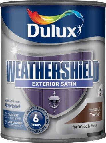 Dulux schnell trocknende Wetterschutz-Satin-Farbe, 750-ml, schwarz, braun, 5091524