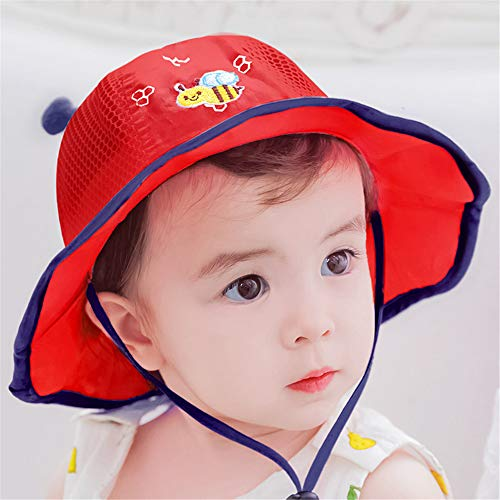 Kostüm Baby Riddler - mlpnko Baby Mütze Baumwolle 0-12 Monate Baby Becken Kappe Sonnenblende Sonnencreme Fischerhut kleine Masche Kappe rot 50: (46-50cm)
