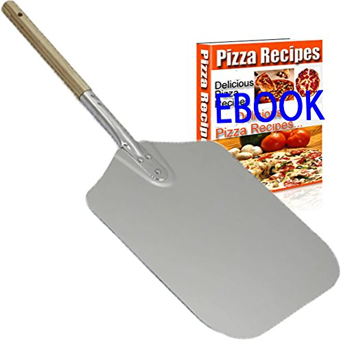 NowCooks Professional Aluminum Pizza Peel Paddle 31cm by 36cm (12 inches x14 inches) with Wooden Handle 20cm (8 inches) the Perfect Pizza Shovel Baking Tool for Baking Homemade Pizza And Bread on Ovens, Wood Stoves and Barbecues