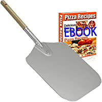 NowCooks Professional Aluminum Pizza Peel Paddle 31cm by 36cm (12 inches x14 inches) with Wooden Handle 20cm (8 inches) the Perfect Pizza Shovel Baking Tool for Baking FREE E_BOOK