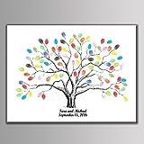 LianLe Feuille de Présence Peinture d'Arbre à Empreintes Signature pour Mariage Anniversaire ,B