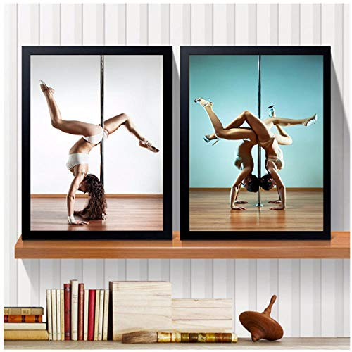 qiaoaoa 2 Stücke Sexy Lady Pole Dance Leinwand Malerei Wandbilder Für Wohnzimmer Decor Vintage Poster Und Drucke 50X70 Cmx2 Kein Rahmen