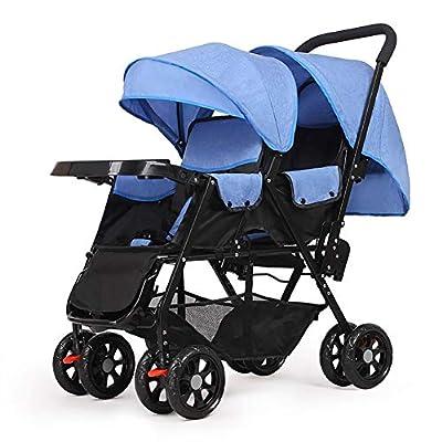Strollers NAUY @ Carro Doble Carro de bebé Doble Sentado hacia adelante y hacia adelante Carro de bebé Ligero Carro de niño Reclinable Versión extendida Cochecito con Placa de Comedor Sillas de Paseo