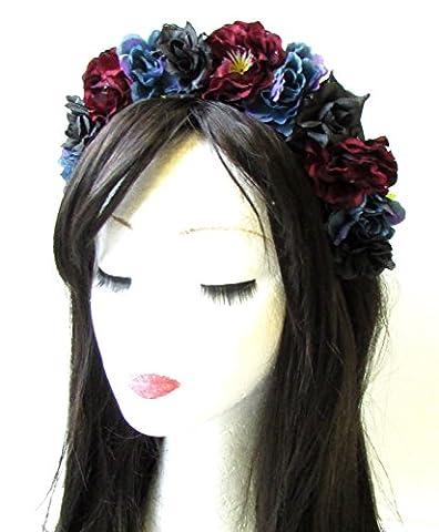 Bleu nuit Noir Bordeaux Rose rouge Couronne de cheveux Fleur Serre gothique Boho 1373* exclusivement Vendu par Starcrossed Beauty *