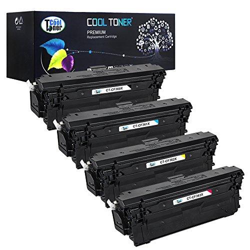 Preisvergleich Produktbild Cool Toner Kompatibel CF360X CF361X CF362X CF363X Toner für HP 508X Replacement für HP Color LaserJet Enterprise M552dn M553dn M553n M553x M577, 4-Pack, Schwarz-12500 Seiten, Cyan Magenta Gelb-9500 Seiten