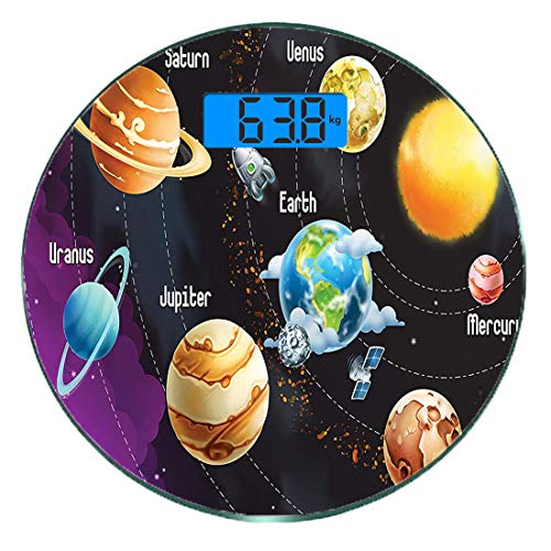 Digitale Präzisionswaage für das Körpergewicht Runde Planet Universum Raum Ultra dünne ausgeglichenes Glas-Badezimmerwaage-genaue Gewichts-Maße,Pädagogisches Sonnensystem Planeten Neptun Venus Merkur