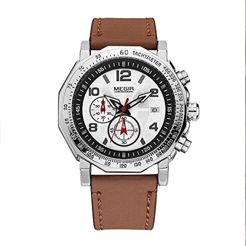 Orologio da uomo Quartz Orologio multifunzionale Timing impermeabile Sport Orologio In pelle 2048G bianco