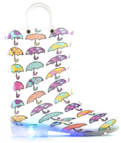 MOFEVER Toddler Kids Light up Wellies Wellingtons Rain Boots (Snow/Cars/Dinosaur/Umbrella)