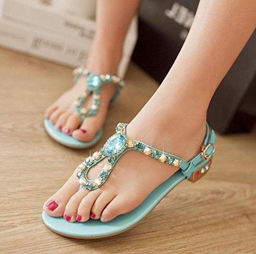 GLTER Donne Flip Flops Pelle di estate Pattini di spiaggia scarpe colorate dolce signore sandali romani Blue