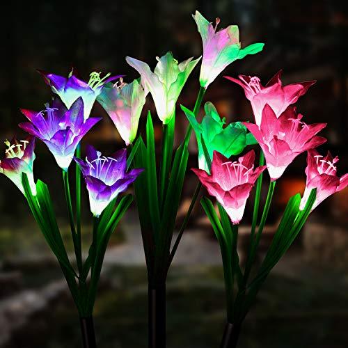 LETMY Solarleuchten für den Außenbereich, solarbetrieben, mit 12 mehrfarbigen Lilienblumen-Lichtern, für den Außenbereich, solarbetrieben, für Terrasse, Hof, Weg (weiß & lila & pink)
