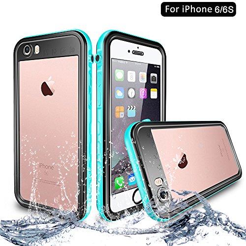 NewTsie iPhone 6 / iPhone 6s Wasserdicht Stoßfest Hülle, IP68 Zertifiziert Schutzhülle Staubdicht mit Eingebautem Bildschirmschutzfolie für Apple iPhone 6/6s 4.7 inch (T-Blau)