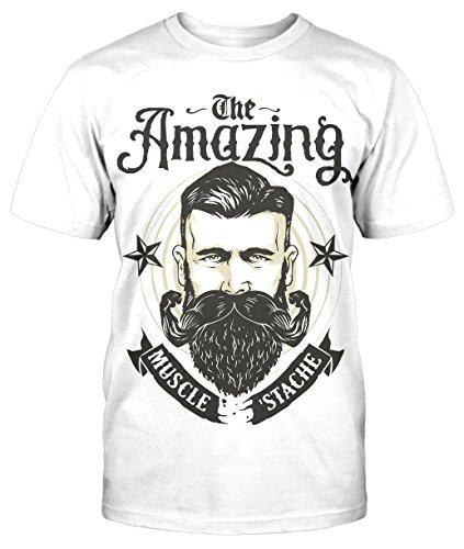 Amazing strong Beard T-Shirt Fun Shirt Geschenk neu Bart Retro Vintage Hipster Weiß
