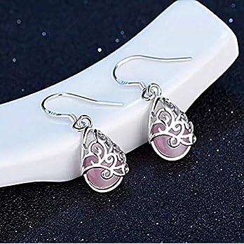 925 silber Tropfen Ohrringe Katzenauge rosa Stein filigranes Muster Ohrhänger Damen Mädchen handmade