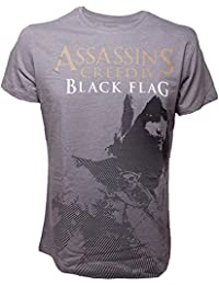 Assassins Creed IV Black Flag Official Mens Grey t shirt Kenway Stencil All Sizes