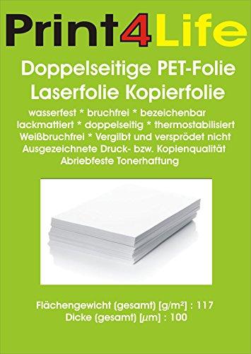 25 Blatt DIN A4 Doppelseitige PET-Folie Laserfolie Kopierfolie 117g/m² wasserfest bruchfrei bezeichenbar lackmattiert und thermostabilisiert 0,1mm - Tk 25 Laser