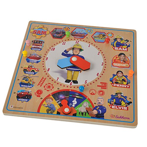 Einsatztafel Feuerwehrmann Sam aus hochwertigem Holz Uhr Lernen ab 3 Jahren • Feuerwehr Kinder Tafel Spielzeug Puzzle -