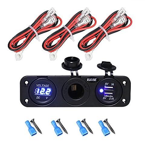 Rupse USB Steckdose 12V Zigarettenanzünder Stecker für Ladegerät Adapter Voltmeter LED Digital Anzeige Einbau Steckdose