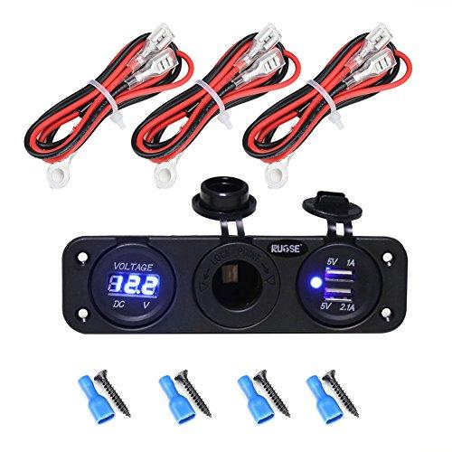 Rupse Dual USB Cargador + LED Azul Voltímetro Digital + 12V Toma del Encendedor para Dispositivos Tableta Teléfono Móvil con los Alambres