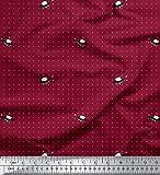 Soimoi Rojo Jersey de algodon Tela nave espacial y de la estrella puntos tela estampada de 1 metro 58 Pulgadas de ancho