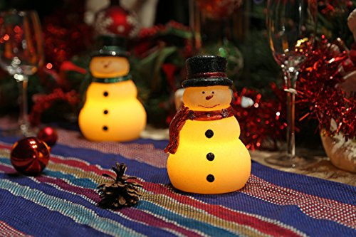 Velas de Navidad Velas LED con temporizador, muñeco de nieve encantadora con bufanda verde, para la decoración de Navidad casera, funciona con baterías