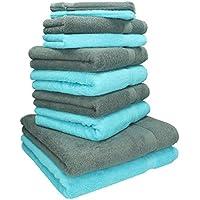 Betz 10 tlg Handtücher Set 100% Baumwolle 2 Duschtücher 4 Handtücher 2 Gästetücher 2 Waschhandschuhe Duschtuch Badetuch Premium Farbe Türkis & Anthrazit Grau